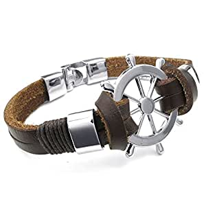 KONOV Bijoux Bracelet Homme - Gouvernail Manchette - Cuir - Alliage - Fantaisie - pour Homme et Femme - Chaîne de Main - Couleur Marron Argent - Avec Sac Cadeau