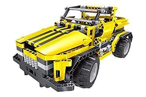 Tekno Toys 85000012-Active Bricks RC 2in1Pickup Truck y Roadster, Amarillo