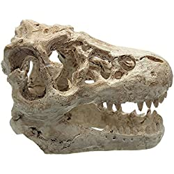 Ularma Cráneo fósil de dinosaurio de resina decorativos de acuario de Halloween