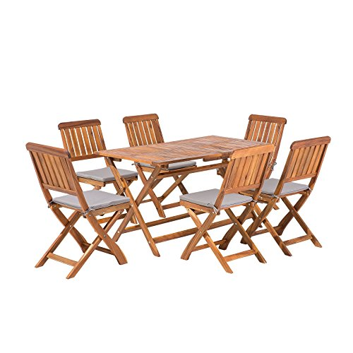 Beliani Gartenmöbel Set Holz 6-Sitzer Cento