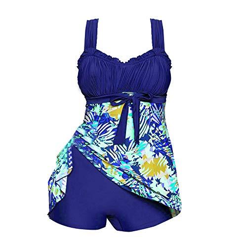 VECDY Damen Bikini Set Frauen 2 STÜCKE Frauen Blumendruck Bademode Tankini Plus Size Swimdress Beachwear Badeanzug Strandkleidung Oberteil Unterwäsche BH