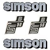Set: Aufkleber - Klebefolie SIMSON S50 B - Silber für Tank und Seitendeckel + BISOMO® Sticker