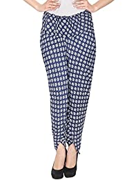 Ihas Trenz Women's Rayon Printed Blue & White Harem Pant For Girls And Women