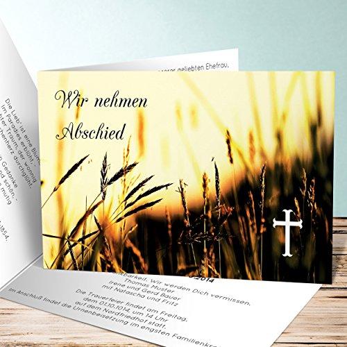Einladungskarten zur Trauerfeier, Ähren 15 Karten, Horizontale Klappkarte 148x105 inkl. weiße Umschläge, Braun