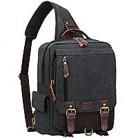 S-ZONE Men's 13 inch Laptop Backpack Cross Body Messenger Bag Vintage Canvas School Shoulder Strap Bag Sling Travel Hiking Rucksack (Dark Gray-Single Shoulder)