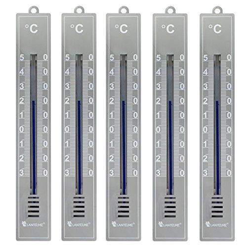 Lantelme 6091 Analogthermometer in Kunststoffgehäuse Farbe grau - 5 Stück Set - Thermometer für Innen oder Außen mit Temperaturanzeige -30 bis +50 Grad Celsius