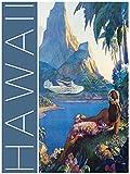Artland Qualitätsbilder I Poster Kunstdruck Bilder 30x40 cm Städte Amerika Digitale Kunst Blau H6RA Hawaii Vintage Reiseplakat