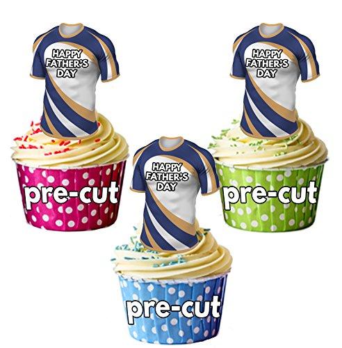 AK Giftshop vorgeschnittenen Happy Fathers Day Rugby Shirts-Essbare Cupcake Topper/Kuchen Dekorationen die brumbies Farben (12Stück)