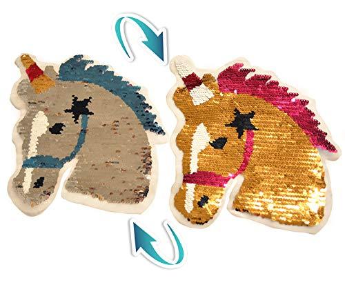Pferd Einhorn Aufnäher Patches Wende Pailletten Farbe ändern Pailletten Ändern Farbe...