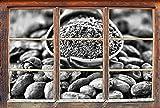 Monocrome, Kakaopulver und geröstete Kakaobohnen Fenster im 3D-Look, Wand- oder Türaufkleber Format: 62x42cm, Wandsticker, Wandtattoo, Wanddekoration