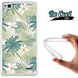 Becool® Fun - Funda Gel Flexible para Vodafone Smart Ultra 6 Carcasa TPU fabricada con la mejor Silicona, protege y se adapta a la perfección a tu Smartphone y con nuestro exclusivo diseño Flores blanca de hawaii