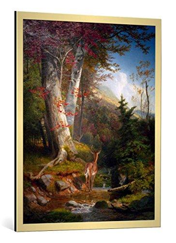 kunst für alle Bild mit Bilder-Rahmen: William Holbrook Beard Mountain Stream and Deer - dekorativer Kunstdruck, hochwertig gerahmt, 80x100 cm, Gold gebürstet