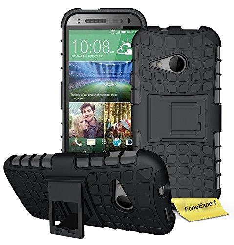 HTC One Mini 2 (M8 Mini) Handy Tasche, FoneExpert® Hülle Abdeckung Cover schutzhülle Tough Strong Rugged Shock Proof Heavy Duty Case für HTC One Mini 2 (M8 Mini) + Displayschutzfolie (Schwarz)