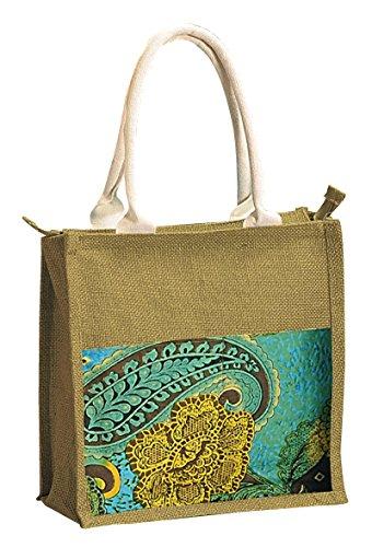Yuga Bedruckte Jute Einkaufstasche Wasser Proof Laminated Grocery Lunch Handtasche Tote Braun und Blau