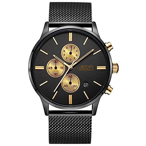 JEDIR Herren Uhren Chronograph Uhr Schwarz Gold Analog Quarzuhr klassisches Einfaches Design mit Datum Anzeige und Milanese Mesh Band