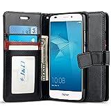 J&D Coque Huawei Honor 5C, [Stand de Portefeuille] Etui Portefeuille de Protection Antichoc avec Stand pour Huawei Honor 5C - Noir