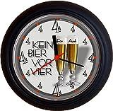 Lucky Clocks BIERUHR KEIN BIER VOR VIER 4 PILS originelle und lustige Wanduhr für Biertrinker Pilstrinker für jeden Anlass mit jeder Beschriftung und jedem Vornamen Namen erhältlich auch ganz neutral