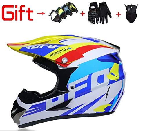 SK-LBB Motocross Helme Enduro Helme Motorrad Crosshelme Erwachsene Männer und Frauen Motocross/ATV/Dirt Bike Gear Combo - Helm, Masken, Handschuhe & Brille - DOT-zertifiziert (Medium,A1) (Frauen Motocross Gear)