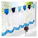 BAILEY JO 1er-Pack Scheibengardine Voile Transparent Raffrollo Bunt Kleine Kaffee Vorhang (HxB 60x120cm, Blau)