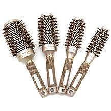 4pcs Peine profesional, Nano Ceramica Y barril jónico Cepillo térmico redondo Cepillo de rizado para