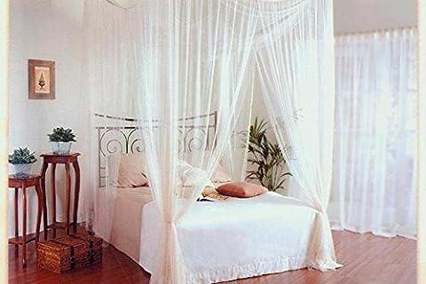 Moustiquaires 4 U - Blanc 4 Affiche carrée ciel de lit avec le sac cadeau (4 Letto A Baldacchino)