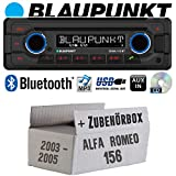 Alfa Romeo 156 Silber - Autoradio Radio Blaupunkt Doha - Bluetooth CD MP3 USB - Einbauzubehör - Einbauset