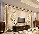 Fototapete 3D Effekt Tapete Marmor Blume Vliestapete 3D Wallpaper Moderne Wanddeko Wandbilder