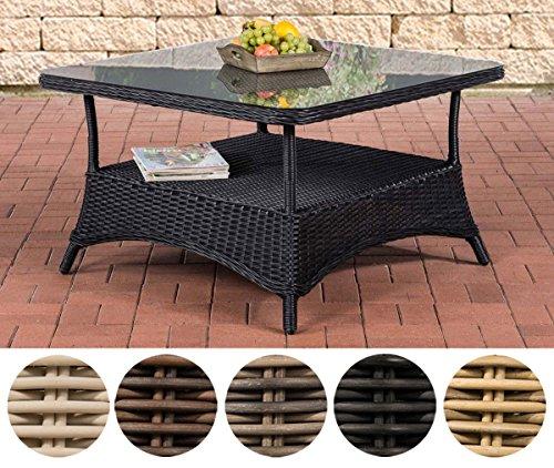 Outdoor-tisch Mit Glas (CLP Design Outdoor Lounge-Tisch Pandora, Höhe 60 cm, Glas Tischplatte, 5 mm Rattan Geflecht, ALU Gestell, mit Stauraum, Ablage unter der Tischplatte Schwarz, 80 x 80 cm)