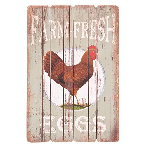 (Clayre & Eef 6H0717 Deko Dekoration Textschild Schild Farm Fresh Eggs ca. 40 x 60 cm)
