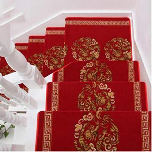 KY&CL Tapis d'escalier en Bois Massif, Non Slip Tapis escalier marches, Convient pour escalier, Salon, Foyer, Chambre à Coucher, etc (25,6 Pouces x 9,4 Pouces),C,5PCS65*24cm