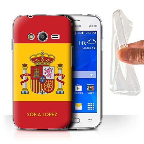 eSwish Personnalisé Drapeau National Nation Personnalisé Coque Gel/TPU pour Samsung Galaxy Trend 2 Lite/G318 / Espagnol/Espagne Design/Initiales/Nom/Texte Etui/Housse/Case