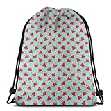 Jiger Drawstring Tote Bag Gym Bags Storage Backpack, Watermelon Slices On Pastel Colored Background Pop Art Fresh Food,Very Strong Premium Quality Gym Bag for Adults & Children