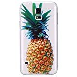 Galaxy S5 Schutzhülle Transparent,Galaxy S5 Neo Hülle Silikon Motiv,Galaxy S5 Case Slim TPU Durchsichtig Ultra Dünne Soft Gel Weich Schutzhülle Crystal Clear Klar Handyhülle mit Ananas Muster Case