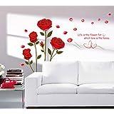 Decals Design 'Romantic Rose Flowers' Wall Sticker (PVC Vinyl, 50 cm x 70 cm),Multicolour
