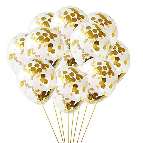 Hinmay 10 globos de látex con lentejuelas mágicas, globo de confeti para despedida de soltera, fiesta, boda, cumpleaños, decoración (oro)
