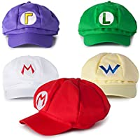 Katara - Juego de 5 Gorras Disfraz Super Mario, Luigi, Wariom Waluigi, Mario