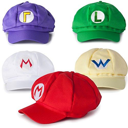 Kostüme Halloween 5k (Super Mario Mützen Set 5er Pack aus Mario, Luigi, Wario, Waluigi, Feuer-Mario (rot, grün, gelb, lila,)