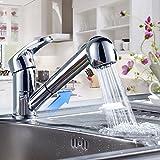 Auralum Wasserhahn 360° Mischbatterie Küchenarmatur Einhandarmatur Waschtischarmatur Ausziehbare brause Armatur Waschbecken Spüle Wasserfall für Küche