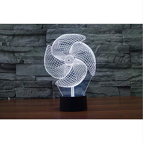 Windrad Illusion Led Nachtlichter Touch Schalter 3D Lampe Kreative Kleine Nacht Ligh Kreative Touch Desktop Lampe Dekoration