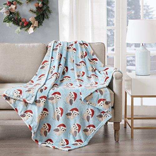 URBAN HABITAT Santa Owl Kuscheldecke Eule Wohndecke Kuscheldecke Wolldecke Microlight Tier Jungen Mädchen Super Weich & Warm, 127x152cm