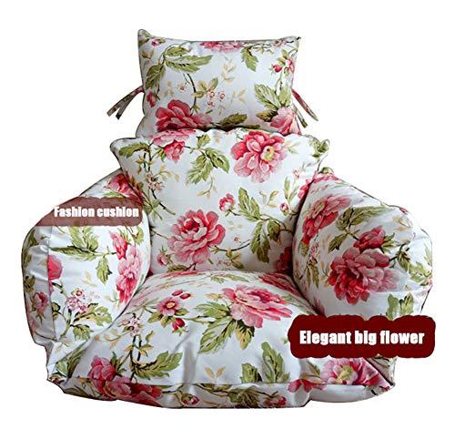 YXZN Schaukelstühle Kissen Elegante rosa Blumen Mehrfarbenmuster hängende Ei Hängematten Stuhl Kissen mit dem Kissen waschbar -