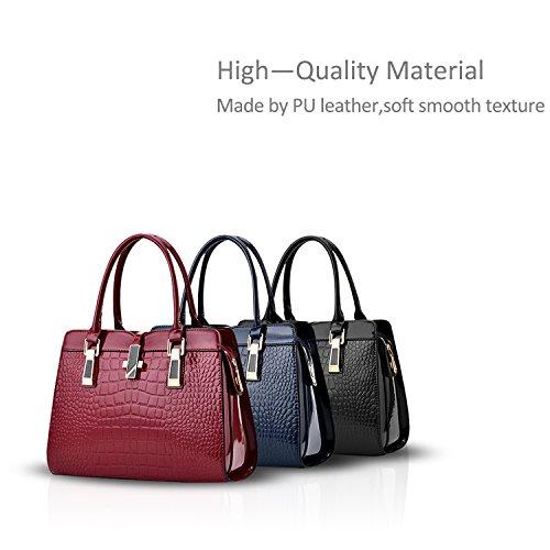 Nicole&Doris Ladies Handbags nuova spalla del computer portatile della moda guscio in vernice Messenger Bag per le donne(Black) nero