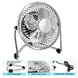 Glamouric USB Mini Desktop Fan, Small Quiet 4 Inch Metal Blade Desk Cooling Fan with 360 Degree Rotation for Home Office (Silver)