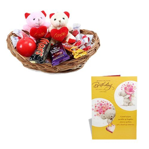 Birthday Greeting Card With Basket of Chocolate With Teddy