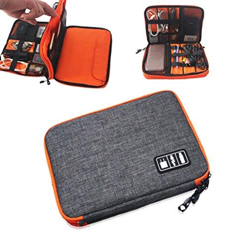 MagiDeal Sacchetto Doppio Strato di Nylon Organizzatore Dell'assistente Caricatore Rilievo Telefono per Viaggio Campeggio Grigio