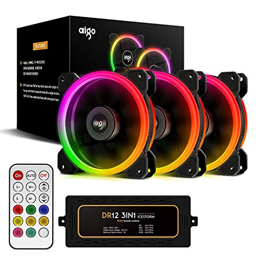 Aigo DR12 Kit 3 Lüfter 16 LEDs Dual Halo RGB Rainbow 120 mm Cooling Fan 6pin 1200rpm 16dBA PC Gaming