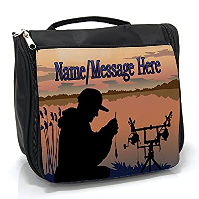 Personalised Wash Bag Carp Fishing st156 Hanging Toiletry Bag | Travel Make up Cosmetic| Overnight Bag ** Add a Name **