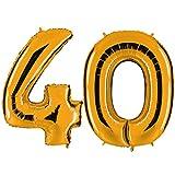PartyMarty Ballon Zahl 40 in Gold - XXL Riesenzahl 100cm - zum 40. Geburtstag - Party Geschenk Dekoration Folienballon Luftballon Happy Birthday GmbH®
