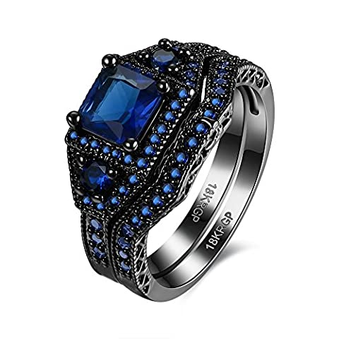 Eternity Love Wedding Bands Women's 18K Black Gold Plated Rings Princess Cut Purple/Black/Pink CZ Crystal Engagement Rings Best Promise Rings Anniversary Wedding Rings, JPR870-Blue-8