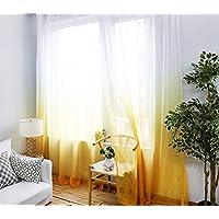 Belle Cose Degrade Renk Geçişli Sarı Tül Perde, Çocuk Odası, Genç Odası, Bebek Odası Perde-Sarı-420X260 cm